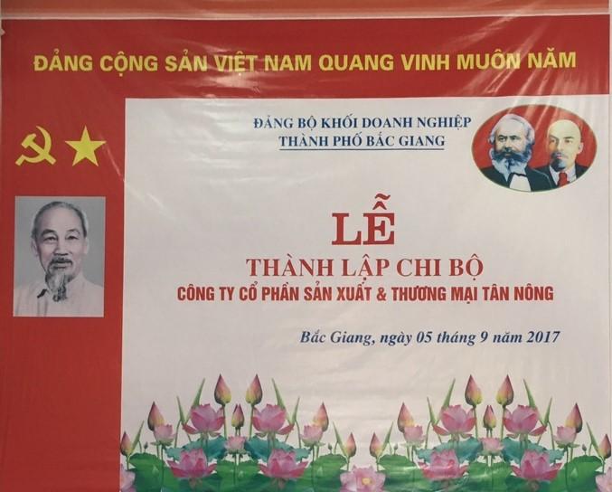 Lễ thành lập chi bộ Công ty Cổ phần Sản xuất & Thương mại Tân Nông